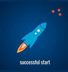 rocket launch background vector image vector image