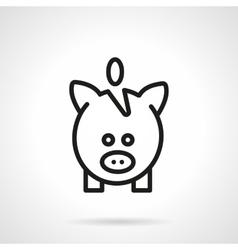 Black line piggy bank simple icon vector image