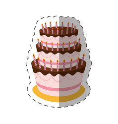 cake birthday candles dessert shadow vector image