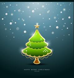 Christmas Green tree Greeting Card vector image vector image