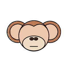 drawing monkey face animal vector image vector image