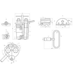Expanded drawing of engineering elements vector