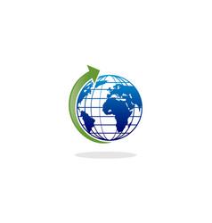 globe arrow logo vector image