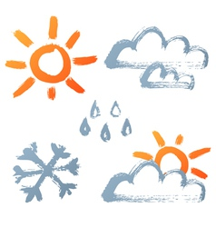 hand drawn weather icons vector image vector image