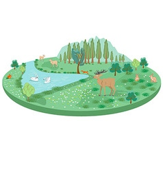 Isometric summer landscape with animals and a pond vector image vector image