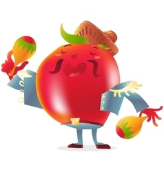 Red tomato character in torero clothes singing and vector image vector image