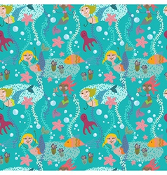 Seamless cartoon Background with color mermaid vector image vector image