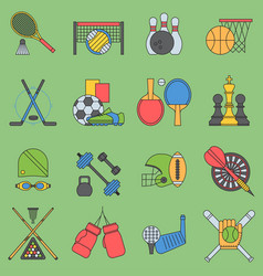 sport games icons flat design ping pong vector image vector image
