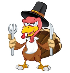 Turkey Mascot Holding A Knife Fork vector image vector image