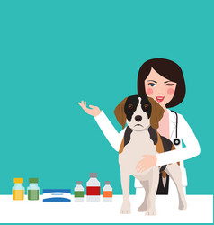 veterinarian animal dog doctor in clinic woman vector image