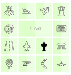 14 flight icons vector