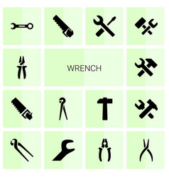 14 wrench icons vector image