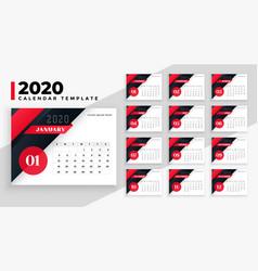 2020 calendar modern geometric template design vector image