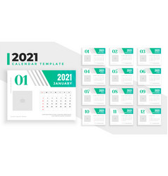 2021 new year calendar design in green turquoise vector