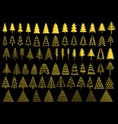 72 gold christmas trees set vector image