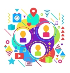 Abstract bright social media network and online vector