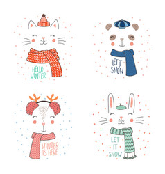 Animal faces in warm hats vector