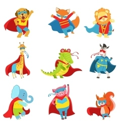 Animals Superheroes With Capes And Masks Set vector