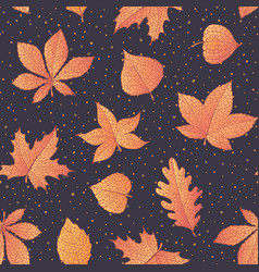 autumn pattern with oak maple beech leaves vector image