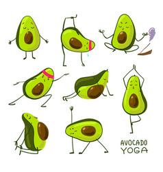 Avocado yoga cartoon style cute do yoga vector