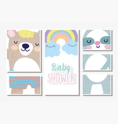 bashower cards bears rainbow clouds decoration vector image