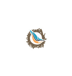 bird-nest-flat-logo vector image