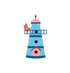 Birdhouse cartoon icon with small spring bird flat vector