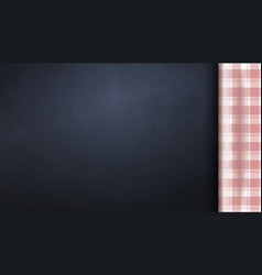 Blank dark board with red picnic tablecloth vector