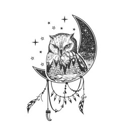 Boho owl tattoo or t-shirt print design vector
