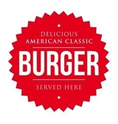 Burger vintage label red vector