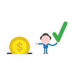 businessman character holding check mark and vector image