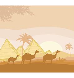 Camel caravan in wild africa landscape vector