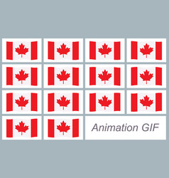 canada flag waving sprite sheet isolated on white vector image