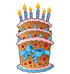 cartoon cake with big ribbon vector image