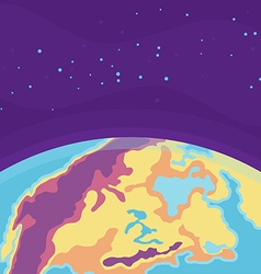 Cartoon cosmic background with Earth Planet in vector