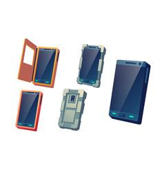 Cellphones protective covers cartoon set vector
