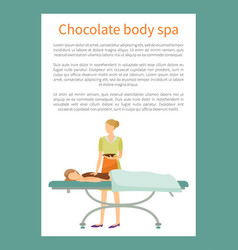 Chocolate body spa poster with text sample vector