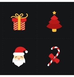 Christmas flat golden icons vector image