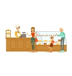Clients Choosing And Buying Pastry At The Cashier vector image