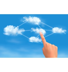 Cloud computing concept Hand touching connected vector image