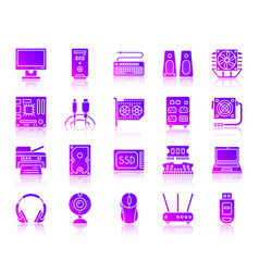 Computer ultraviolet silhouette icons set vector