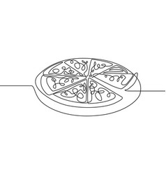 continuous one line pizza fast food vector image