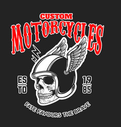 Custom motorcycles poster template with skull in vector