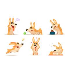 Cute cartoon funny puppy animal dog vector