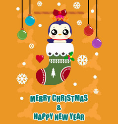 cute penguine in socks vector image