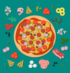 delicious pizza with salami cheese tomato and vector image