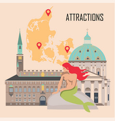 denmark background with national attractions vector image