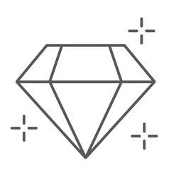 diamond thin line icon jewellery and accessory vector image
