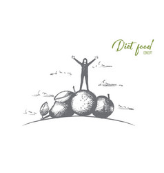 diet food concept hand drawn isolated vector image