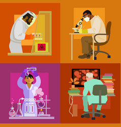 doctors are working in laboratory science concept vector image